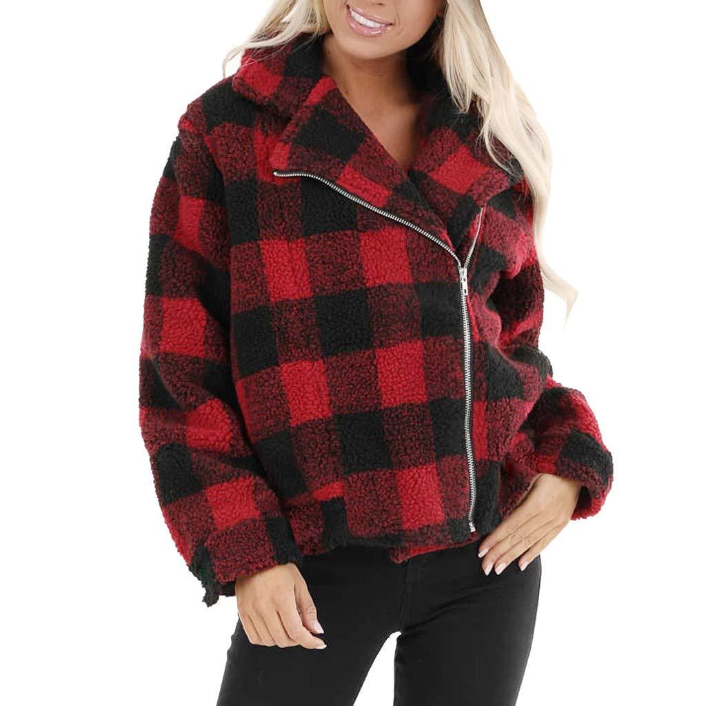 AmazingDays Womens Long Sleeve Fashion Plaid Zip Up with Zippered Pockets Winter Jacket Coat by AmazingDays