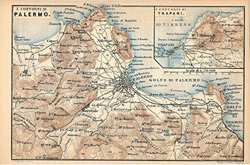 Environs of Palermo & Trapani 1877 detailed antique Italy map