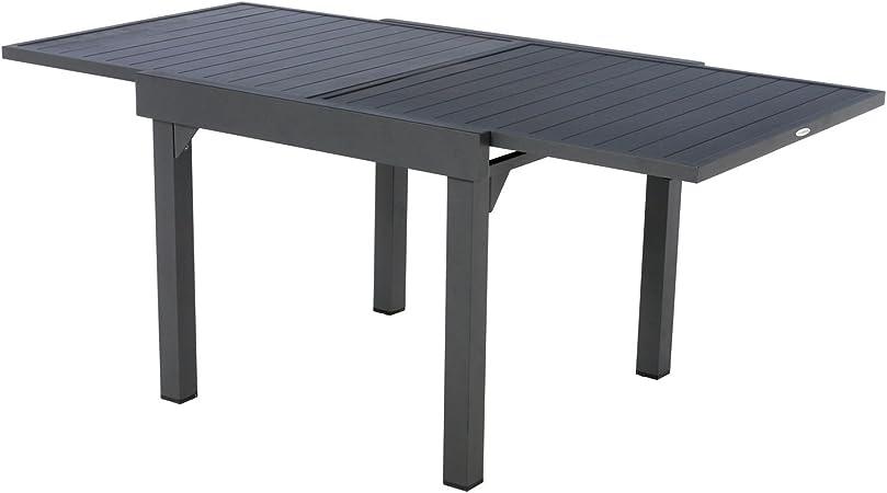 Hespéride Table de Jardin Extensible 8 Personnes Piazza - L. 90/180 cm -  Noir Graphite
