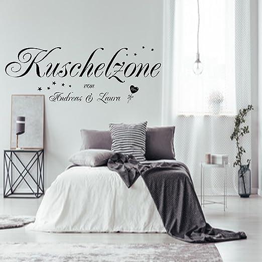Wandtattoo Wandaufkleber Aa228 Schlafzimmer Kuschelzone Mit Zwei Namen Nach Wunsch Amazon De Kuche Haushalt