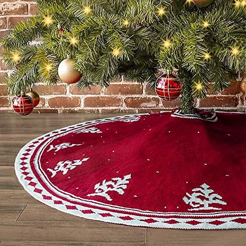 LimBridge Christmas Tree Skirt, 48 inches Tree Pattern Knitted Thick Heavy Yarn Rustic Xmas Holiday Decoration, Cream Burgundy (Tree Skirt Pattern)