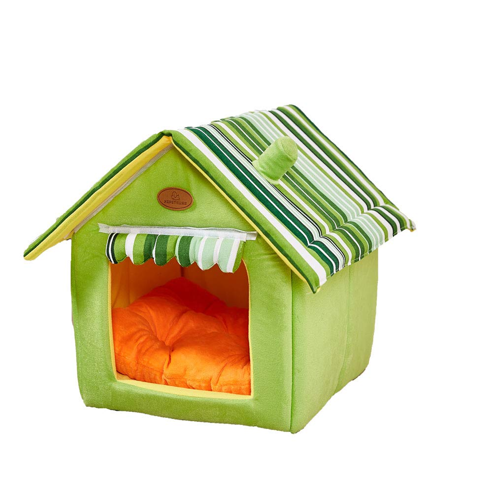 Green X-Large Green X-Large Bed for Cats and Small Dogs House Pet Supplies Durable Plush Mat Pad Foldable Multi color Cozy Soft Warm Removable Comfortable,Green,XL