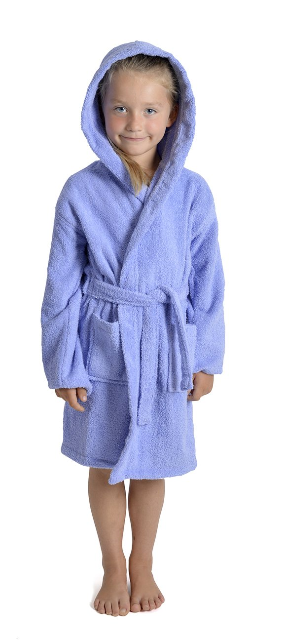 Aumsaa Girls Children Dressing Gown Hooded Towelling Bathrobe 100% Cotton Terry Towel Bath Robe Soft Towling Lounge Wear 7-13 Years