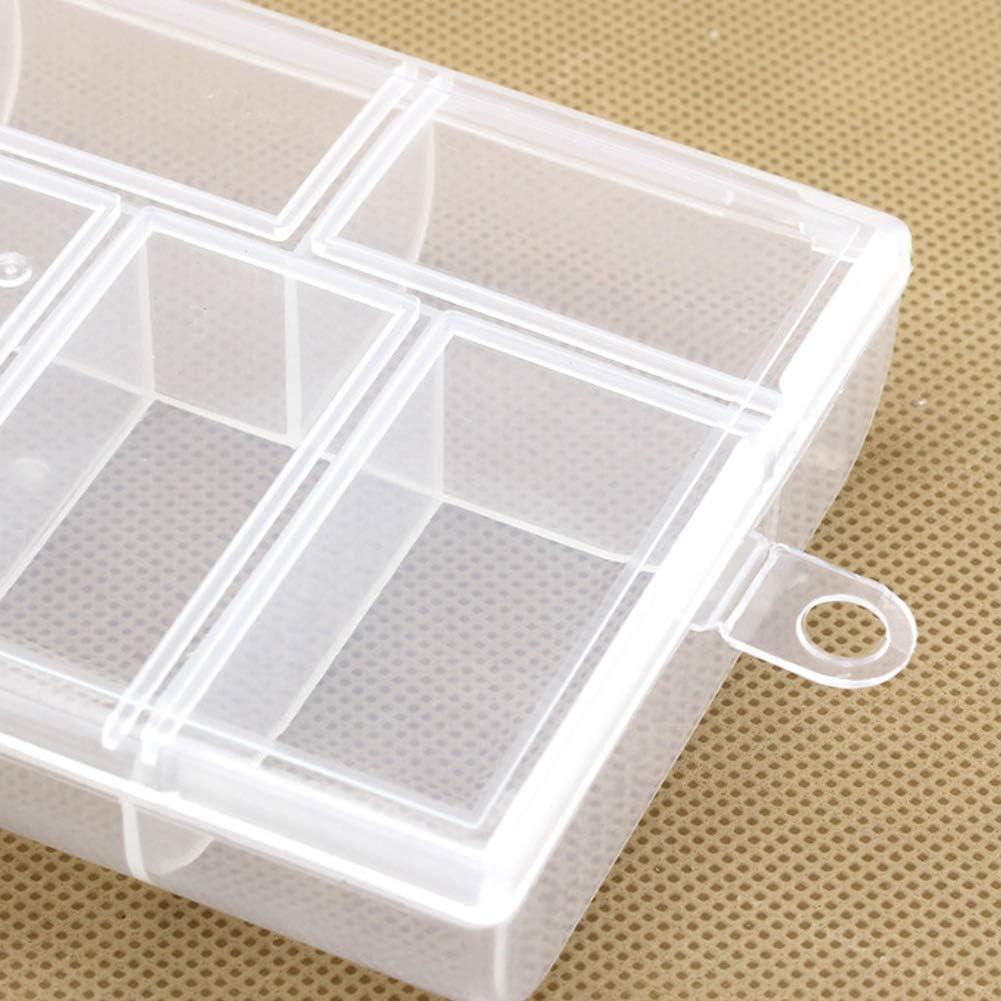 Caja de Almacenamiento de Pl/ástico Transparente Blanco 10 Compartimentos Caja de Accesorios Duradera Joyer/ía de Cuentas Lykke