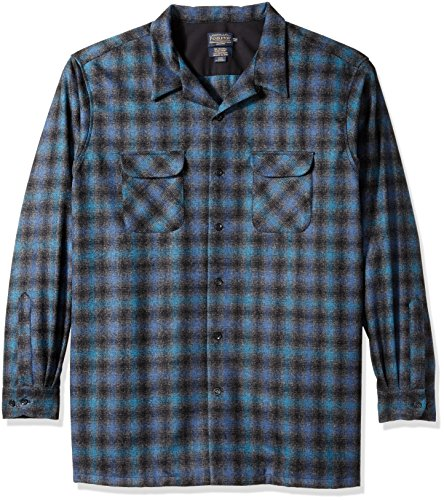 Pendleton Men's Big and Tall Board Shirt, Blue/Black Ombre, 5X