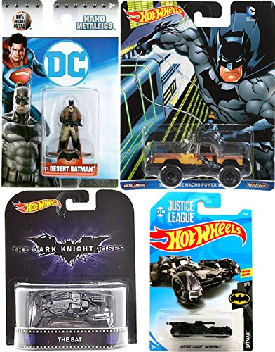 2018 Justice League Batmobile Batman Set #1 + Pop Culture Dodge Macho Power Wagon Truck Retro Bat Dark Knight & Miniature Desert Metal Figure collectible toy bundle set