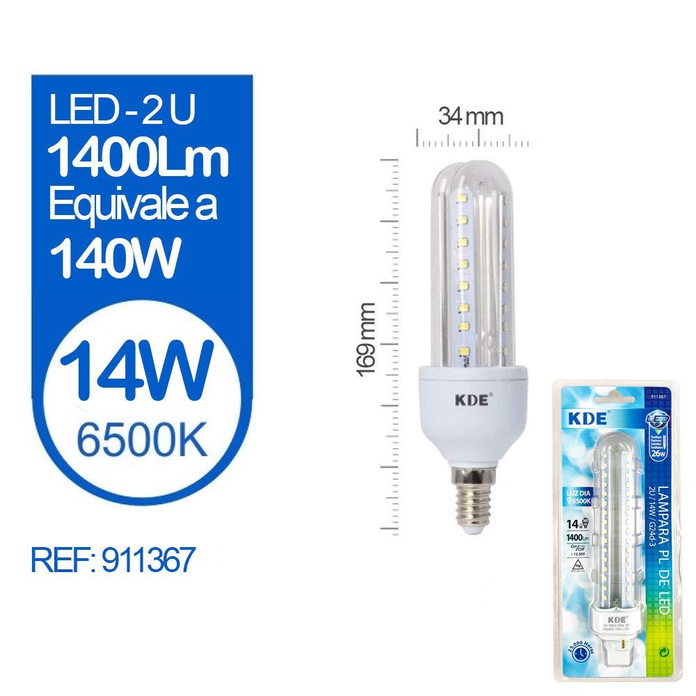 Pack 5 Bombillas LED - KDE LED 911367 Bombilla LED 2U G24D-3 14W=140W LUZ DÍA 6500K 1400Lm [Clase de eficiencia energética A+] [Clase de eficiencia ...