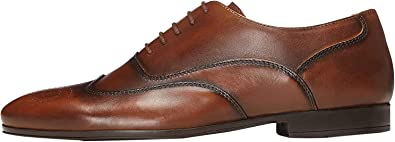 Marca Amazon - find. Leather Lace Up Brogue, Zapatos de Vestir Hombre