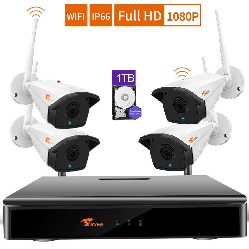 CORSEE H.265 + 8チャンネルワイヤレスビデオ監視キット、4 Cctv HD 1080 Pカメラ。 1TBハードドライブ内蔵(複数のカメラを追加可能、マイクの内側に内蔵)   B01M06YYXG