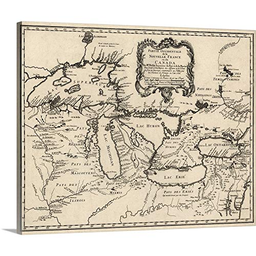 Canvas on Demand Premium Thick-Wrap Canvas Wall Art Print entitled Antique Map of the Great Lakes and the Midwest US, 1755 - Us Map Colonial