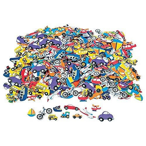 - 500 pc Foam TRANSPORTATION Self Adhesive Craft Shapes/CARS/Bike/Truck/PLANE/Stickers/Boy Arts/Crafts/1