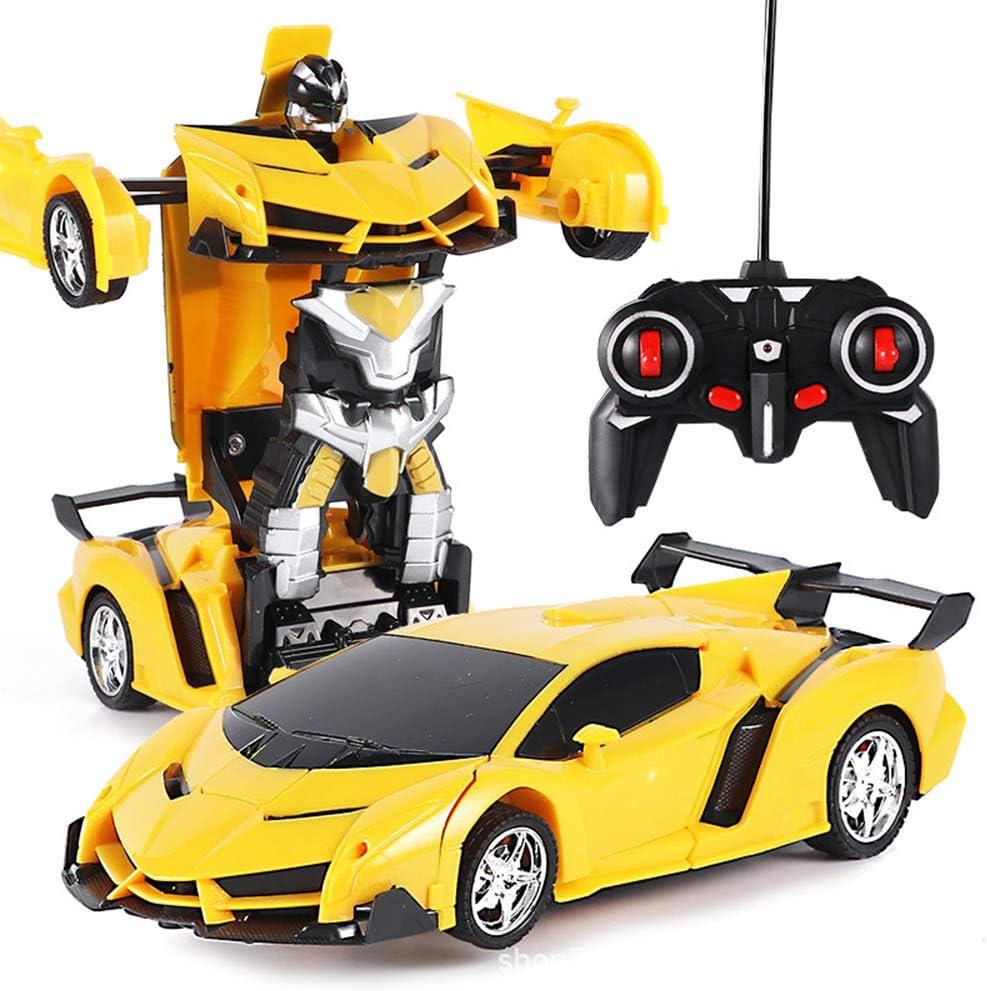 Amarillo One Touch Transformers Transformers con control remoto Coche de juguete Juego de juguetes educativos Juguetes preescolares para ni/ños 2 en 1 Transformer Robot Car Coche con control remoto