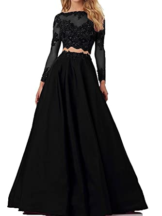 LL Bridal Womens Beaded Prom Dresses with Long Sleeve Long 2018 Two Pieces Evening Party Gown