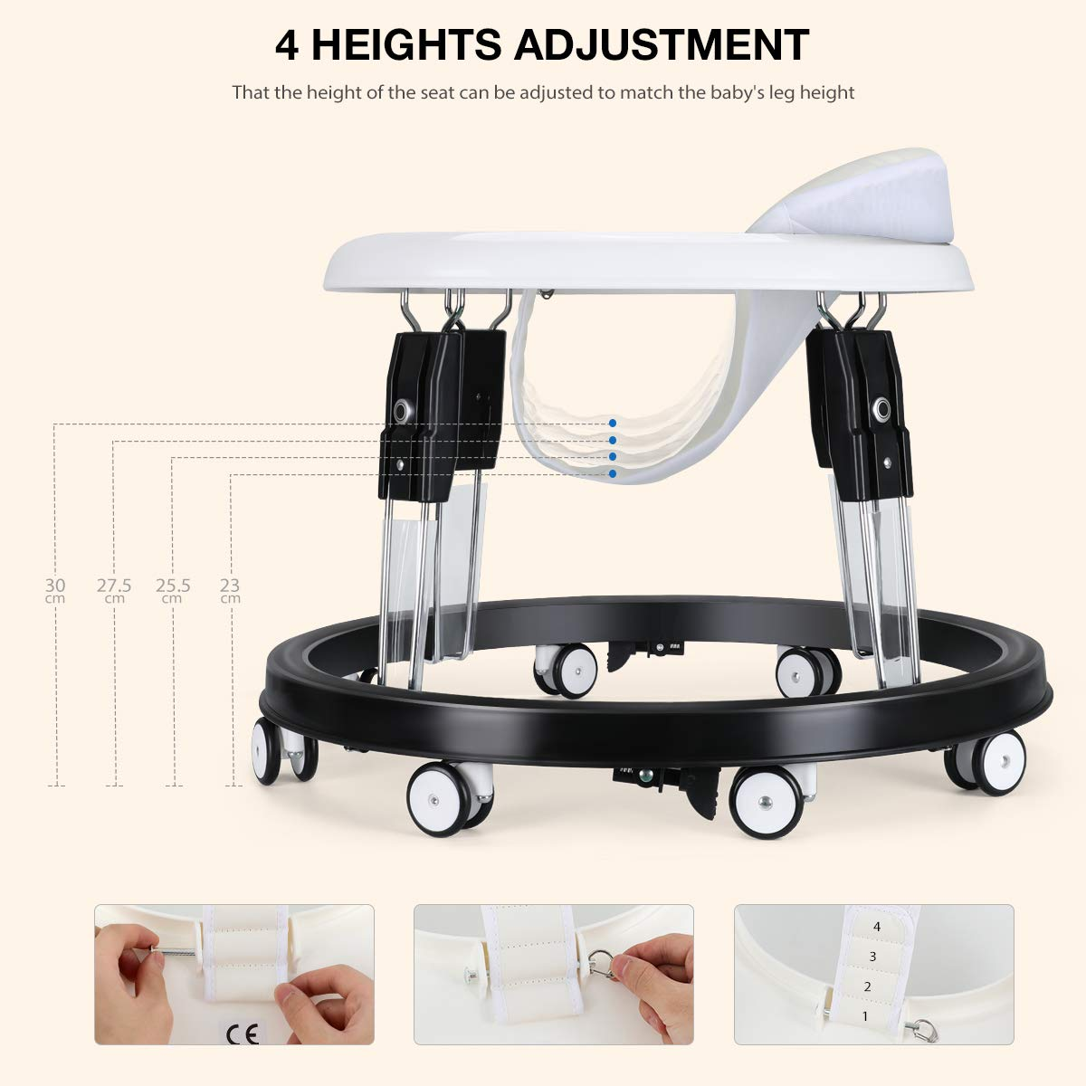 Folding Activity Walker with Brake and Seat Belt Anti-rollover Height Adjustable Learning Walker for Baby over 8 Months White Fascol Baby Walker