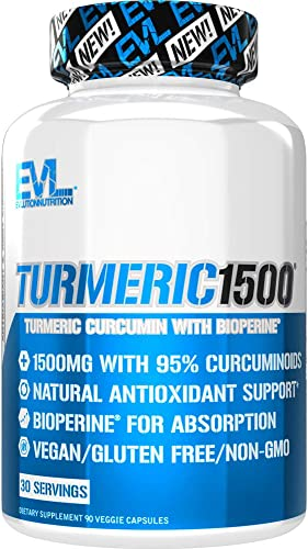 Evlution Nutrition Turmeric Curcumin with Bioperine 1500mg Premium Pain Relief and Joint Support with 95 Standardized Curcuminoids, Non-GMO, Gluten Free Turmeric Capsules 30 Serving Veggie Capsules