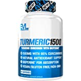 Evlution Nutrition Turmeric Curcumin with Bioperine 1500mg Premium Pain Relief and Joint Support with 95% Standardized Curcuminoids, Non-GMO, Gluten Free Turmeric Capsules (30 Serving Veggie Capsules)