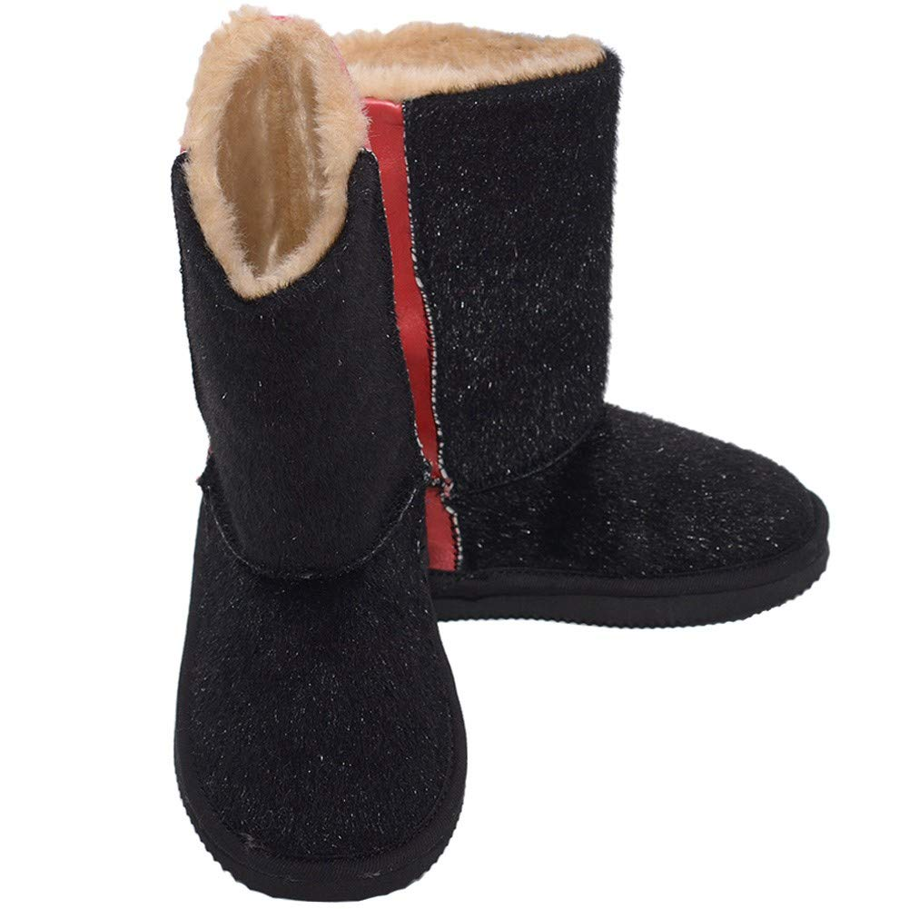 LAmour Black Faux Cow Hair Red Fashion Boot Toddler Girl 5-10