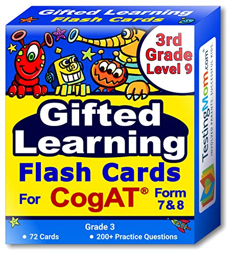 Higher Practice Book - CogAT Test Flash Cards - Grade 3 (Level 9) - 72 Cards - 200+ Practice Questions - Tips for Scoring Higher on the CogAT - Verbal, Non-Verbal and Quantitative Concepts - Fun Characters for Engaging Prep