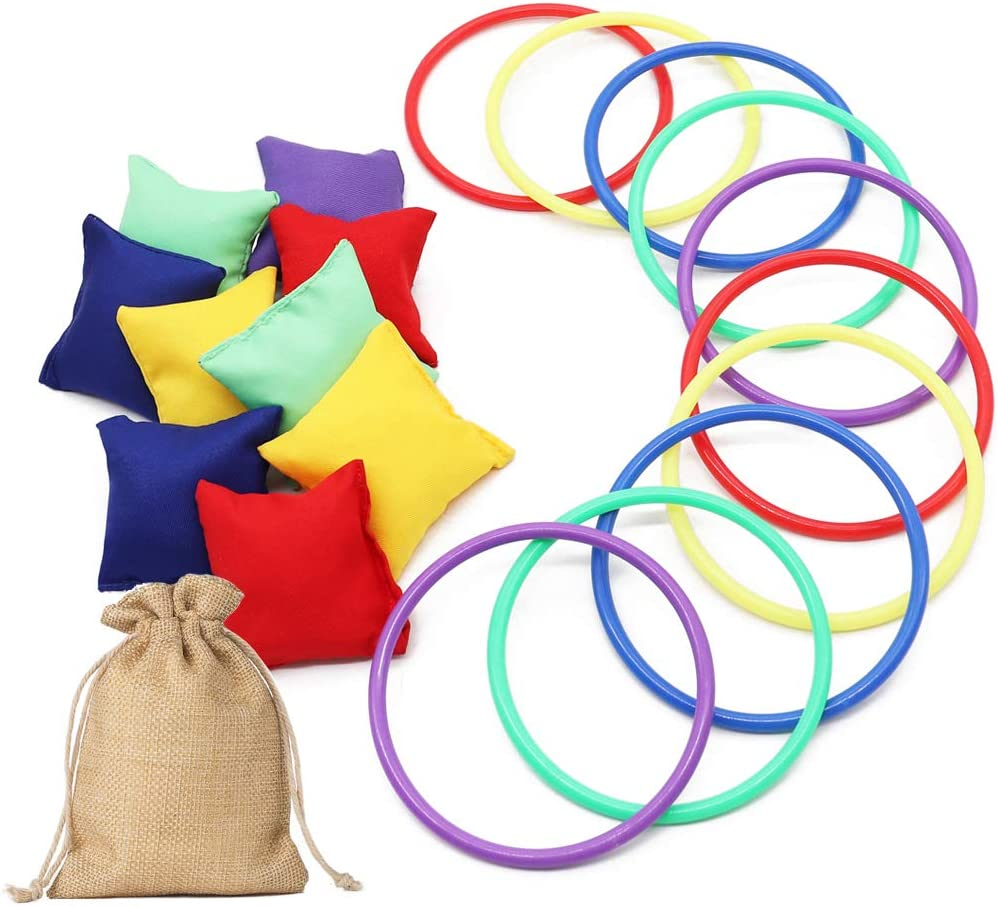Aster 21PCS Bean Bags Ring Toss Game Set - Big Nylon Bean Bags and Rings with Burlap Bags, Carnival Combo Set for Sports Day Garden Backyard Outdoor Family Games Speed and Agility Training