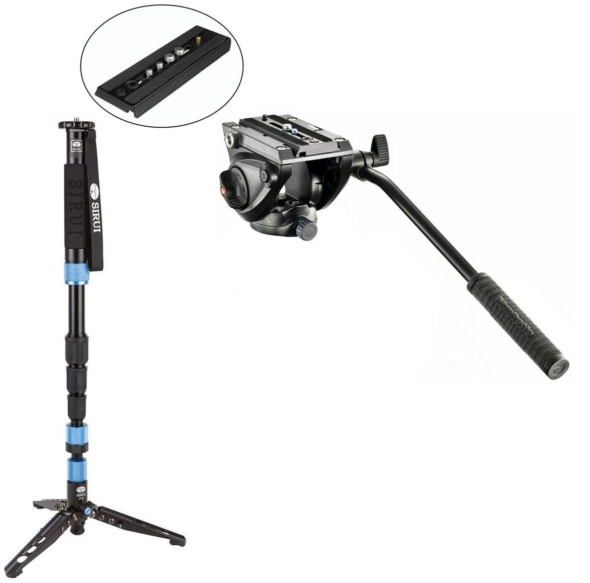 Calumet Sirui SUP204SR Photo/Video Monopod w/ MVH500AH Pro Fluid Video Tripod Head with Flat Base and a Bonus Sliding Plate w/ 1/4''-20 & 3/8'' Fixing Screws