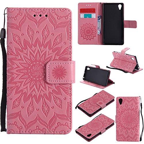 YHUISEN Diseño de la impresión de la flor del sol Caja de cuero de la PU del tirón de la carpeta del tirón del lanyard con la ranura para tarjeta / soporte para Sony Xperia X Performance / XP ( Color  Pink