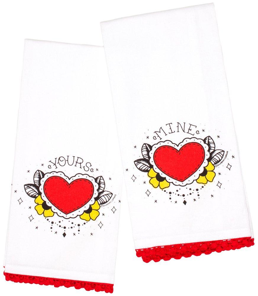 Sourpuss Yours Mine Tea Towel Set SPHW6WHT:NS