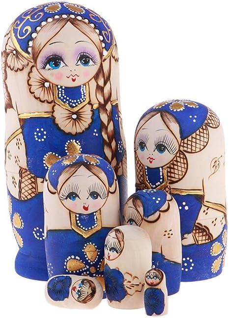 D DOLITY 5pcs Poup/ée Russe Babushka Peint /à la Main D/écoration pour Chambre Enfant Adulte Fille dHiver