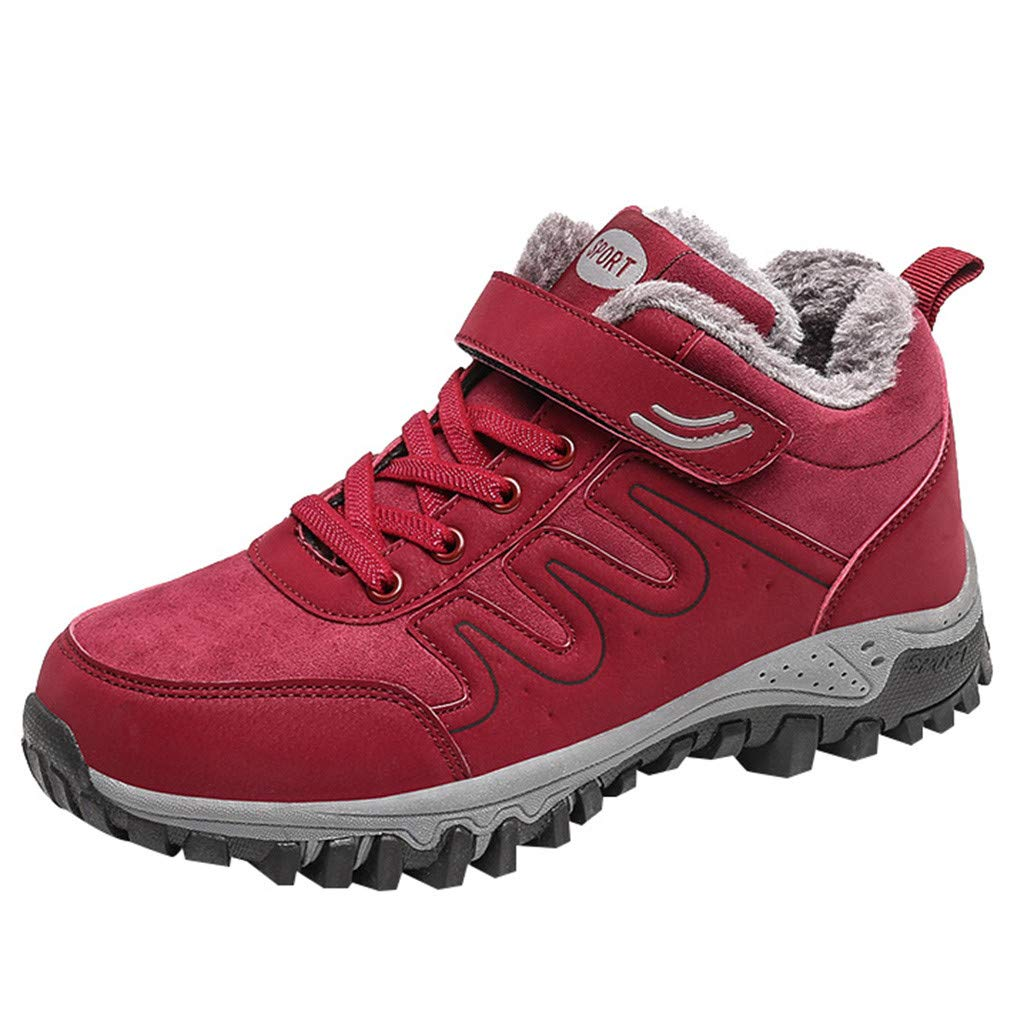 Women Hiking Shoes Trekking Low-top Plus Velvet Non-Slip Outdoor Walking Shoes (US:9, Red) by Suoxo Women Shoes