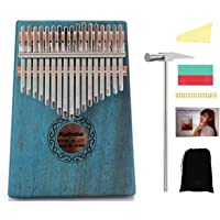 17 Keys Kalimba, Mahogany Finger Thump Piano with Study Instruction and Tune Hammer, Professional Marimba Musical Gift for Music Lover, kids, Adult, Beginners (Blue)