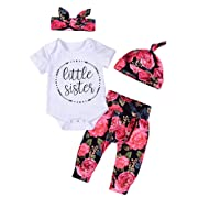 4Pcs Baby Girls Arrow Little Sister Romper+Floral Long Pant+Hat+Bowknot Headband Outfit (0-3Months, White&Red)