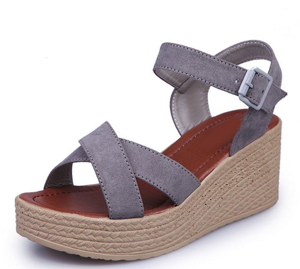 KUKI Bas épais pour femmes avec la version coréenne de la marée des chaussures en daim imperméable à bout ouvert, 1, US5.5/EU35/UK3.5/CN35