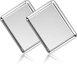 Stainless Steel Baking Sheet Set of 2, Deedro Cookie Sheet Metal Baking Pan Oven Tray, Non Toxic & Heavy Duty, Rust Free & Mirror Finish, Easy Clean & Dishwasher Safe, 12 x 10 x 1 Inch