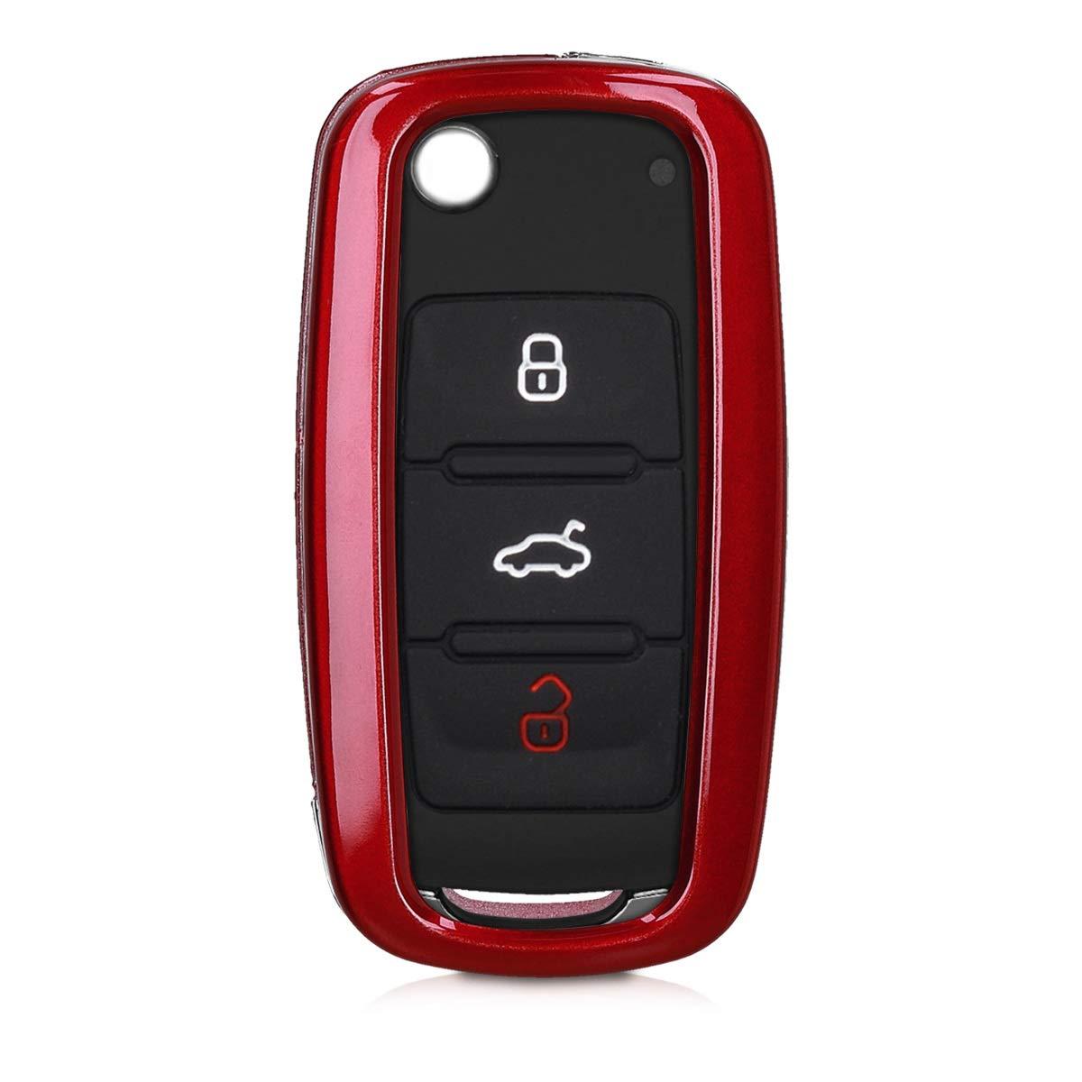 kwmobile Funda para Llave de Coche VW Skoda Seat Dura Carcasa Protectora para Mando de Llave de 3 Botones para Coche VW Skoda Seat en Rojo Brillante