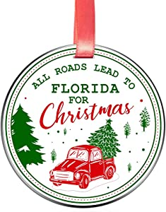 Elegant Chef All Roads Lead to Florida for Christmas- Christmas Ornament Gift for Family Friends- Tree Hanging FL Love Festival Decoration for Xmas Holidays Celebration- 3 inch Flat Stainless Steel