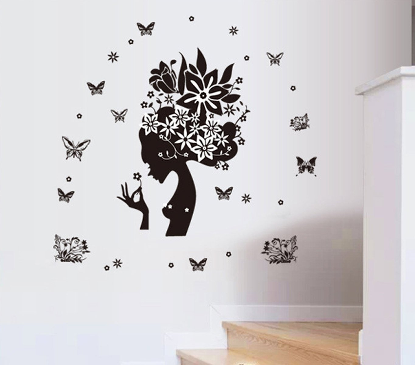 New Wayzon Pretty Butterfly Flower Fairy Girl Removable PVC Wall Sticker  Home Decor Decals     Amazon.com