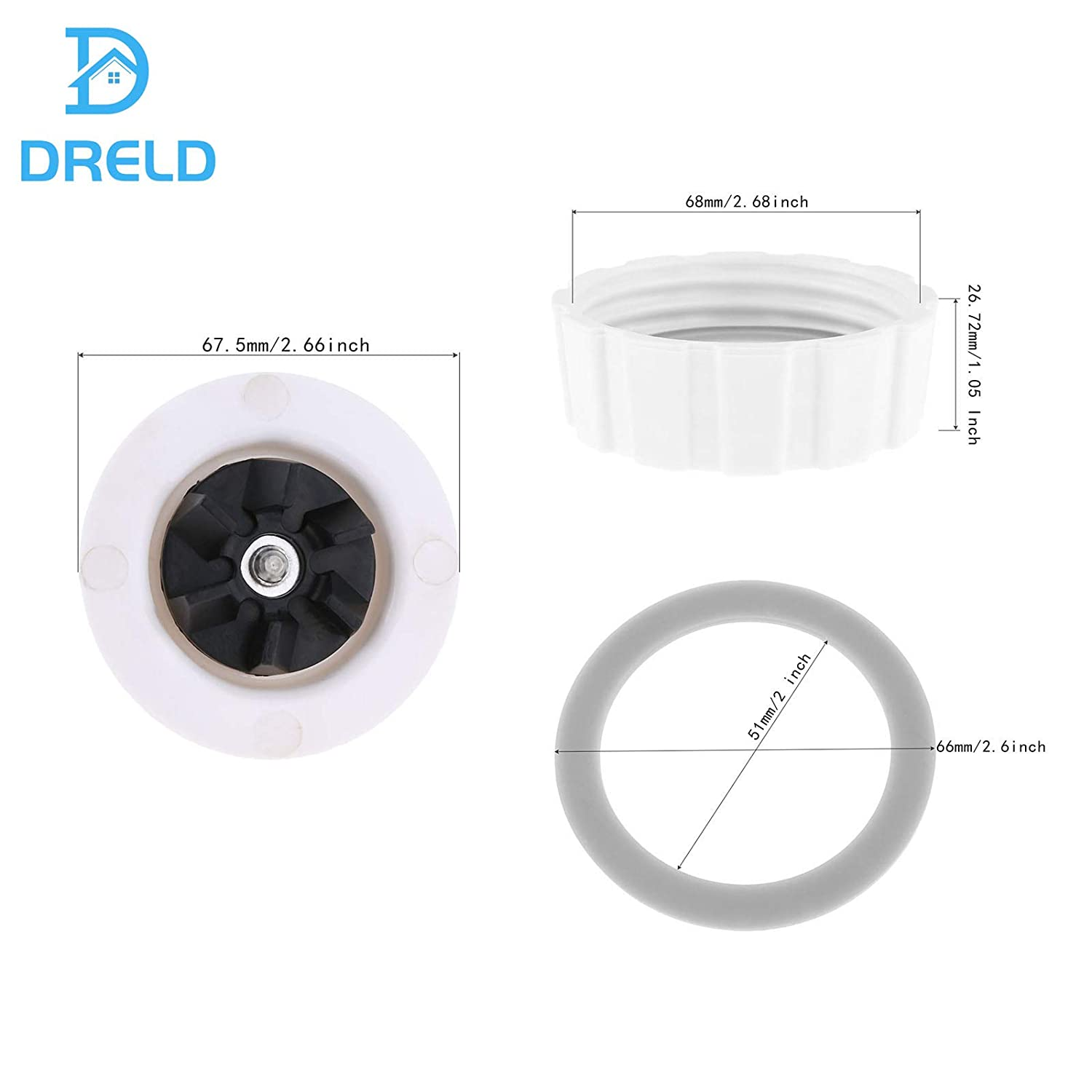 Dreld Blade with Gasket Blender Base Bottom Cap and 2 Rubber O Ring Sealing Gaskets Replacement Part Fit for Hamilton Beach Blenders