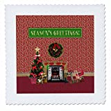 3dRose Beverly Turner Christmas Design - Christmas Room, Fireplace, Tree, Toys, Seasons Greetings - 22x22 inch quilt square (qs_267931_9)