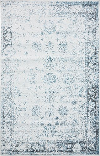 Unique Loom 3134068 Sofia Collection Traditional Vintage Beige Area Rug, 5' x 8' Rectangle, Light Blue