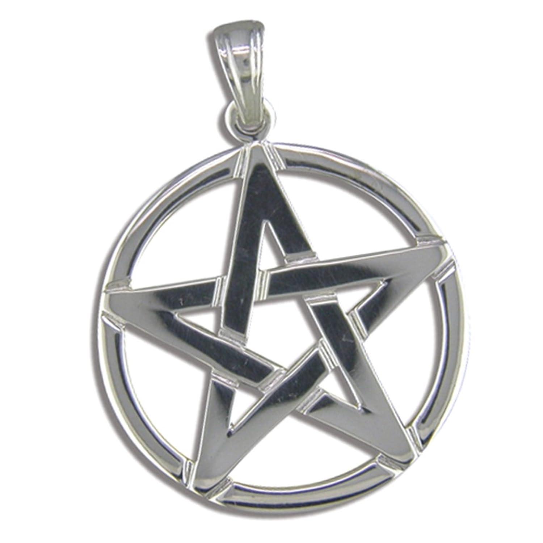 Mens sterling silver pentagram pendant on a 16 inch black leather mens sterling silver pentagram pendant on a 16 inch black leather cord necklace amazon jewellery aloadofball Images