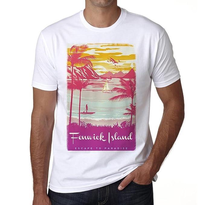 Fenwick Island, Escapar al paraíso, Camiseta para Las Hombres, Manga Corta, Cuello Redondo, Blanco: Amazon.es: Ropa y accesorios