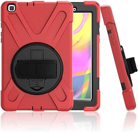 Funda para Samsung Galaxy Tab A 8.0 2019, SM-T290 / T295, resistente a los golpes y resistente para tablet Samsung Tab A8 de 8 pulgadas, soporte giratorio 360, correa, color rojo: Amazon.es: