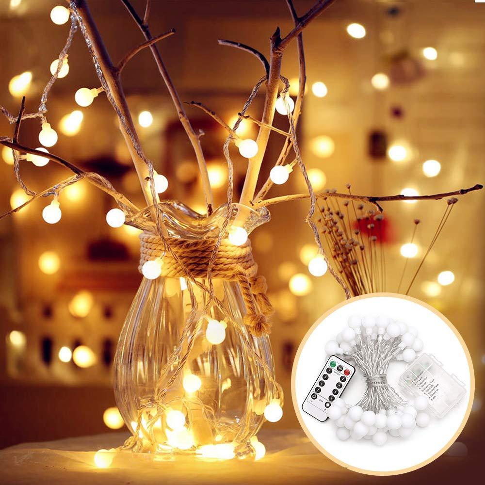 EJIKER Lichterkette 5M Kugel 50er LEDs Weihnachtsbeleuchtung ...