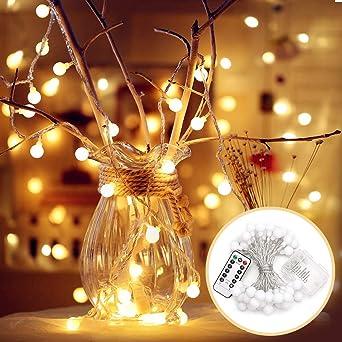 Weihnachtsbeleuchtung Mit Batteriebetrieb.Ejiker Lichterkette 5m Kugel 50er Leds Weihnachtsbeleuchtung