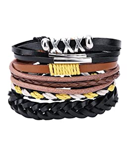 Everpert da uomo Mixed vintage Handmade treccia multistrato Wrap bracciali, colore: Style No.# 12, cod