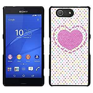 For Sony Xperia Z3 Compact , S-type® Polka Dot Love Pink Pattern White - Arte & diseño plástico duro Fundas Cover Cubre Hard Case Cover