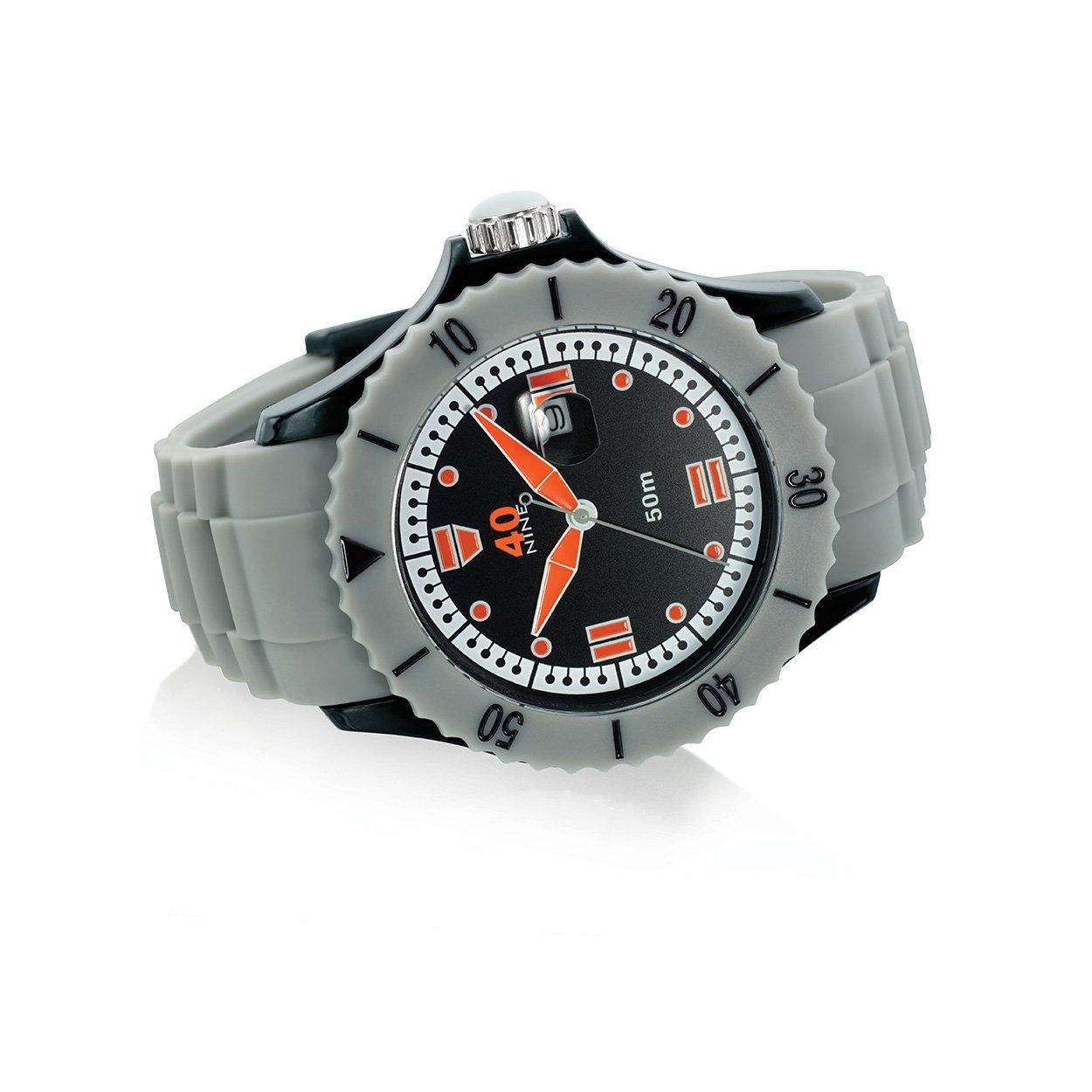 40Nine Men s Japanese-Quartz Watch with Silicone Strap, Grey, 26 Model 40NINE01 GREY20