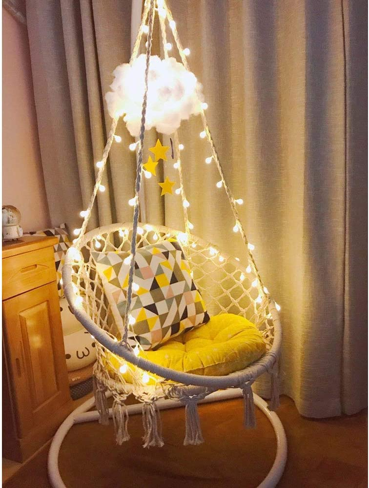 Sonyabecca Led Hanging Chair Light Up Macrame Hammock Chair With 39ft Led Light For Indoor Outdoor Home Patio Deck Yard Garden Reading Leisure Lounging Large Size 65x85cm Not Included Stand Kitchen Dining
