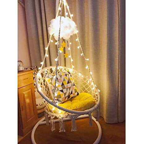 Swell Sonyabecca Led Hanging Chair Light Up Macrame Hammock Chair With 39Ft Led Light For Indoor Outdoor Home Patio Deck Yard Garden Reading Leisure Short Links Chair Design For Home Short Linksinfo