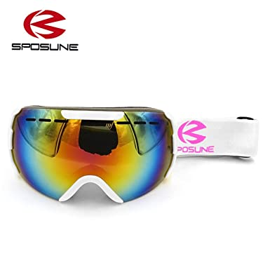 b5b0f3b5db52 Ballylelly Bright White Men Women Sposune Skiing Goggles Double Layers  Outdoor Winter Snow