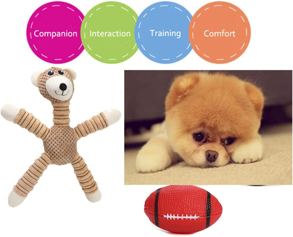 CakZoo Puppy Toys Dog Squeaky Toys Plush Dog Puppies Teething Toys with a Squeaky Balls Pet Toy for Small Medium Dogs Teeth Cleaning Dog Rope Chew Toy 6 Pack Dog Ball Dog Gift Set Dog Toy Pack